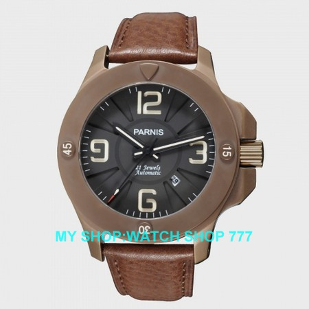 Sapphire crystal 47 mm PARNIS Japanese Automatic Self Wind movement men watches Mechanical Wristwatches PVD coffee