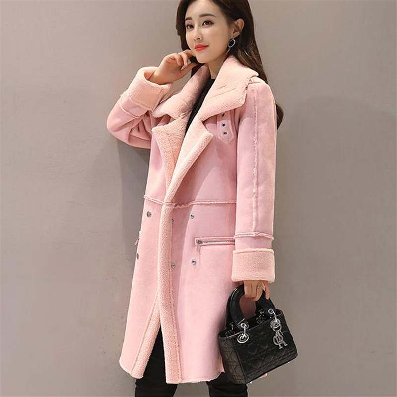 Parka Outwear rose Longs Agneau Veste Femmes Manteau Automne Coton Ab988 Manteaux Faux Femme Velours Épaissir Hiver Daim 2018 Solide Gris Midi Chaud PXikZuTO