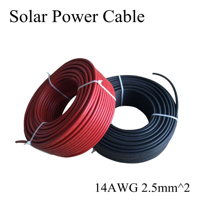 2.5mm2 14AWG MC4 Solar Cable Red and Black Pv Cable Wire Copper Conductor XLPE Jacket TUV Certifiction For PV Panels Connection