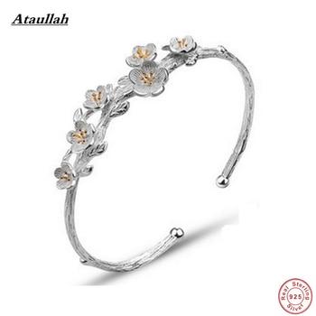 Ataullah Brand Plum Flower 925 Sterling Silver Bracelets for Women Trendy Mother Bangles Sterling Silver Fine Jewelry SBG001