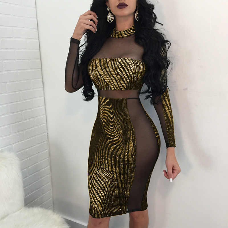 dc215876915d Glitter Sexy Party Dresses Women Long Sleeve Celebrity Bodycon Midi Dress  Night out Club Sheer Mesh