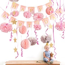 16pcs Princess Birthday Party Decorations Twinkle Star Pink Glitter Polka Dots Happy Banner 1st Baby Girl Supplies New