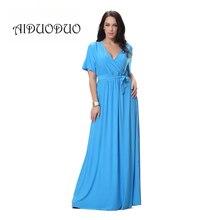 2016 neue Ankunft Sexy V-ausschnitt Blau Abend Eleganten Kleid Whit gürtel Sommer Lang Maxi Kleid Plus Größe Frauen Kleidung 4XL 5XL 6XL