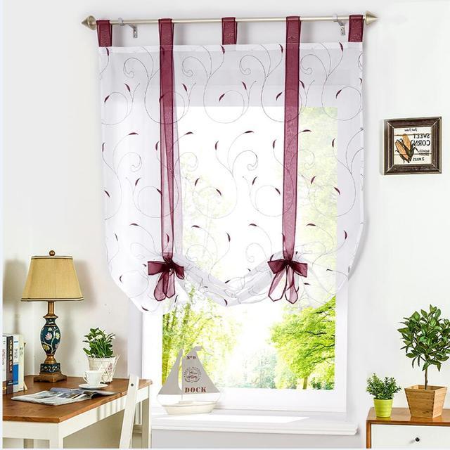 Best Kitchen Curtains: Roman Shade European Embroidery Style Tie Up Window