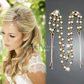 Gold Downton Double Layer Pearl Chain Forehead Hair Clip Crown Head Dress Band  Jewelry 2017 New