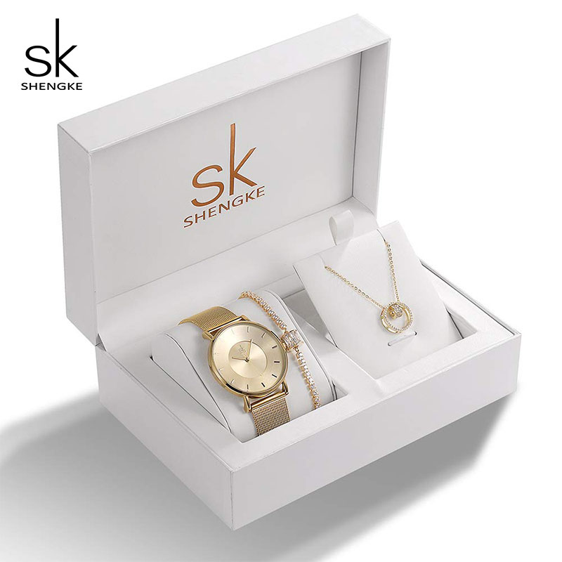 Image 2 - Shengke Brand Watches Women Set Luxury Crystal Design Earrings Necklace Watches Set 2019 SK Ladies Quartz Watch Gifts For Women-in Women's Watches from Watches