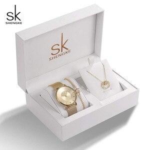 Image 2 - Shengke Rose Gold Women Watches Set Luxury Crystal Design Earrings Necklace Watch Set Box Watch Xmas Gifts Jewelry Women