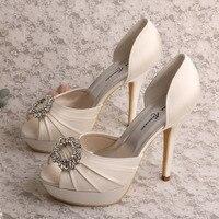Wedopus MW555 Frauen Plattform Peep Toe Elfenbein Satin Hochzeit Schuhe Braut High Heel