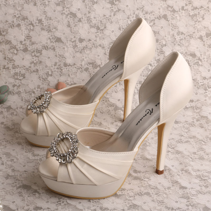 Bridal Shoes High Heels: Wedopus MW555 Women Platform Peep Toe Ivory Satin Wedding