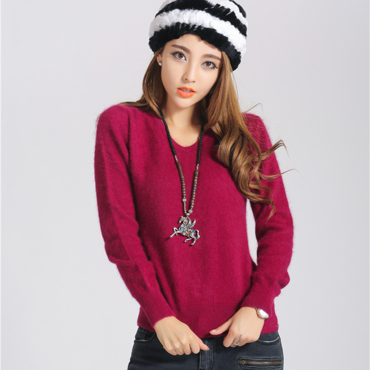 2018 sweater female V neck marten velvet sweater solid color basic shirt short design Mink cashmere