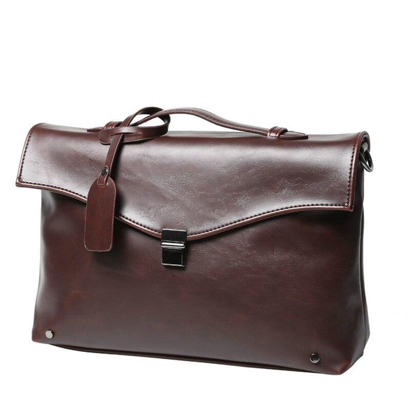 ФОТО New! High Quality Men's Casual Bag Tide European Men Go To Work Shoulder Bag Retro Square Business Men Document Handbags