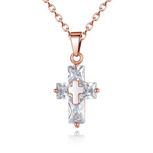 Jewelry Necklace Cross Christian Cross Zircon Pendant religious christian symbol christian necklace men купить недорого в Москве