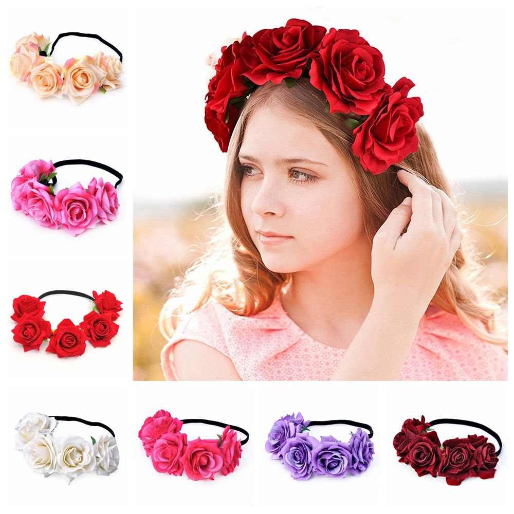 Okdeals 1PC Fashion Bohemia Style Rose Flower Headbands Floral Crown Hairband Wedding Hair Garland Bridal Girls Hair Acessories 1