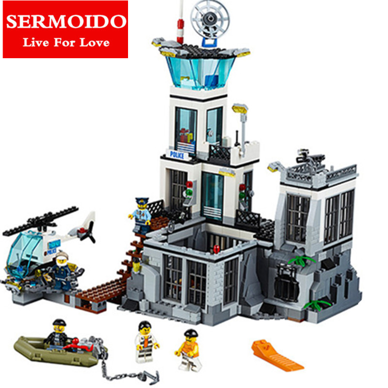 SERMOIDO 02006 815Pcs City Series Prison island set Children Educational Building Blocks Bricks Boy Toys Compatible With 60130 city series police car motorcycle building blocks policeman models toys for children boy gifts compatible with legoeinglys 26014