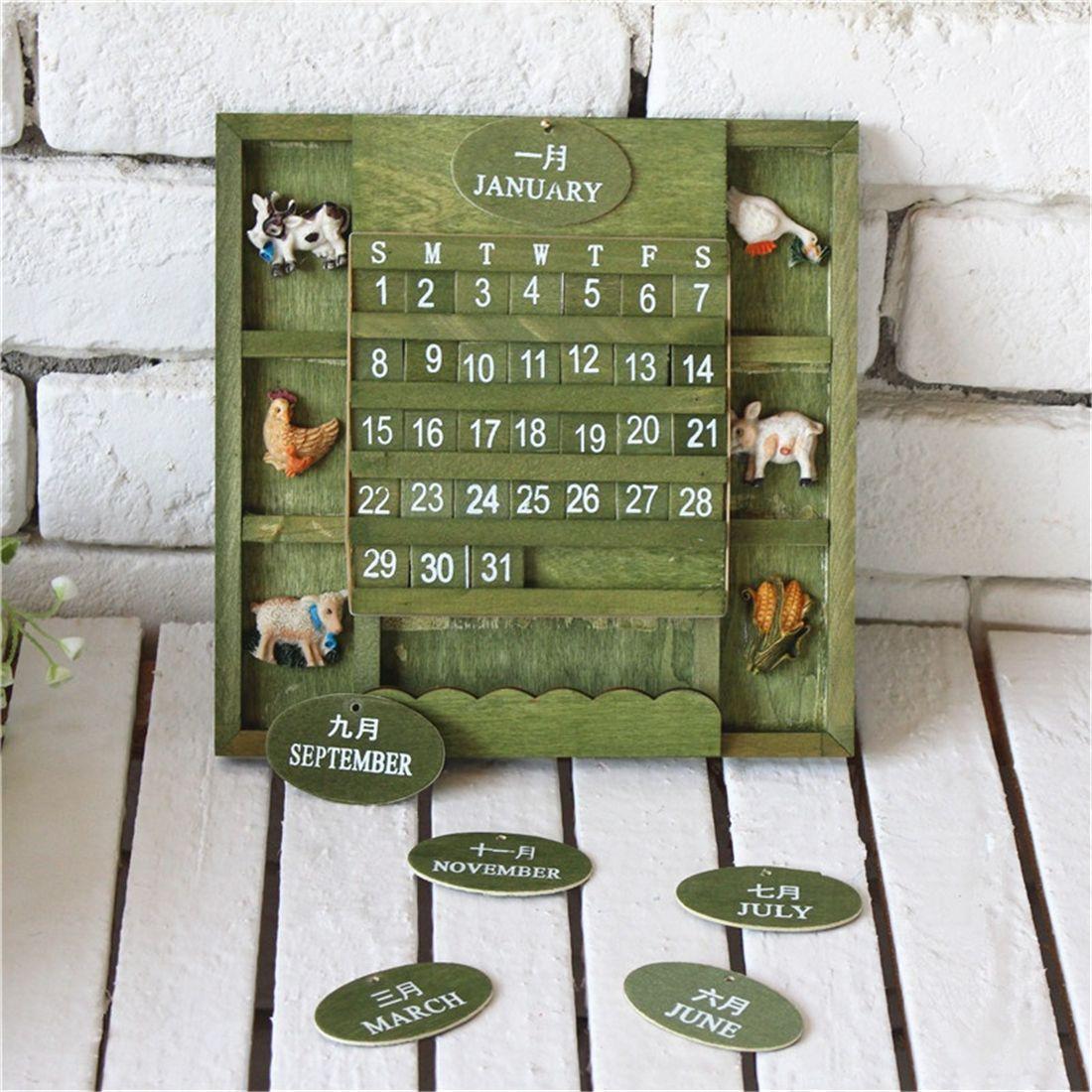 Retro Rustic Bilingual Desktop/Wall Calendar Mediterranean Creative 2019 Wooden Manual Calendar Office Home Decoration Crafts