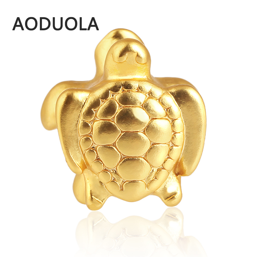 Sea turtle Beads 2016 New Gold Color Matt Pure Gold Color Charms Heart Bead Fit For Pandora Charm Bracelet & Beadwork Accessorie