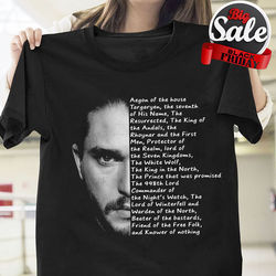 2d625d5dc Game of Thrones Jon Snow Face Aegon of The House T Shirt Black Cotton Men  New