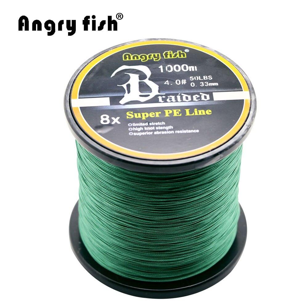 Angryfish All'ingrosso 1000 Metri 8x Intrecciato Linea di Pesca 11 Colori Super PE Linea