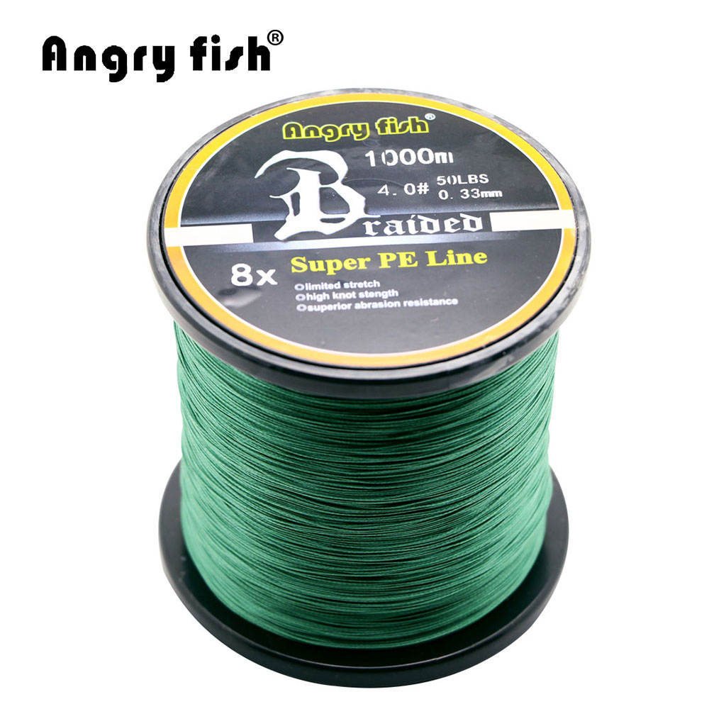 Angryfish Wholesale 1000 Meters 8x Braided Fishing Line 11 Colors Super PE Line 8 strands 1000m 65 150lb superpower kastking pe braided fishing line for deep water crank bass carp fishing multifilament