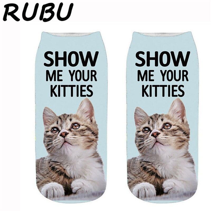 RUBU Cute Casual Cotton Socks Women 3D Print Kawaii Cat Dogs Animal Socks Funny Women Low Ankle Socks Female Meias 7VB173