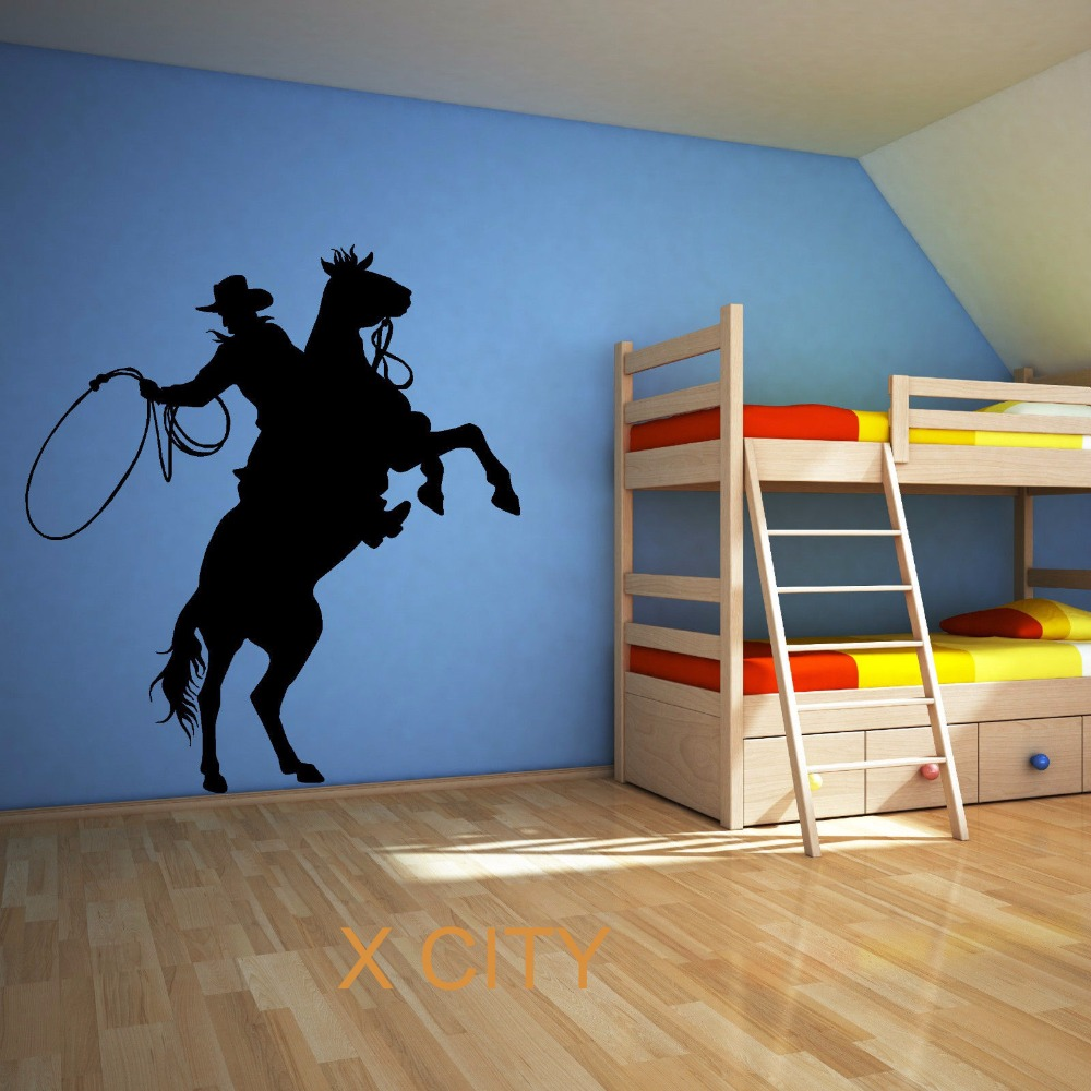 popular stencil wall art buy cheap stencil wall art lots from cowboy lassoing lasso rope rodeo ranger horse rider wall art sticker vinyl transfer decal room stencil