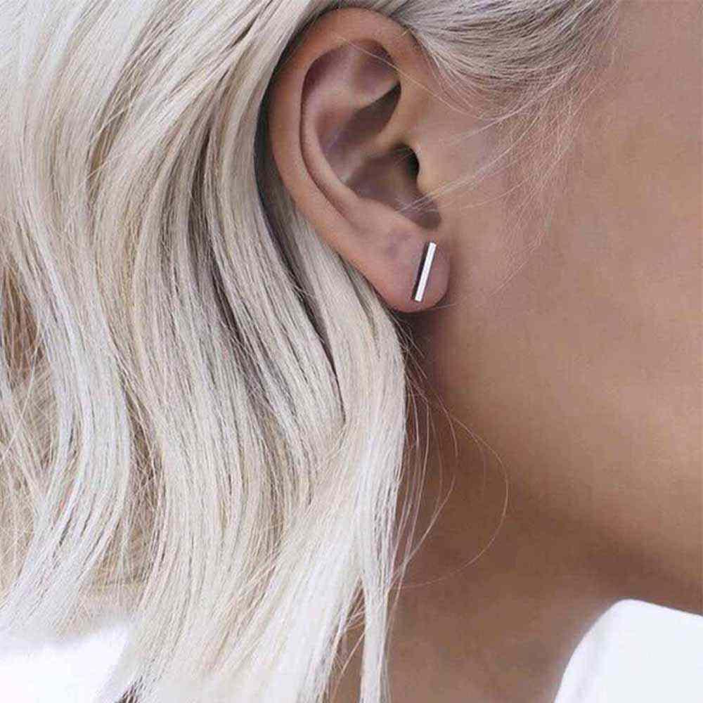 FAMSHIN 2017 Punk สีดำทองเงินต่างหู Simple T Bar ต่างหูผู้หญิงสตั๊ดต่างหูเครื่องประดับ Brincos Bijoux femme