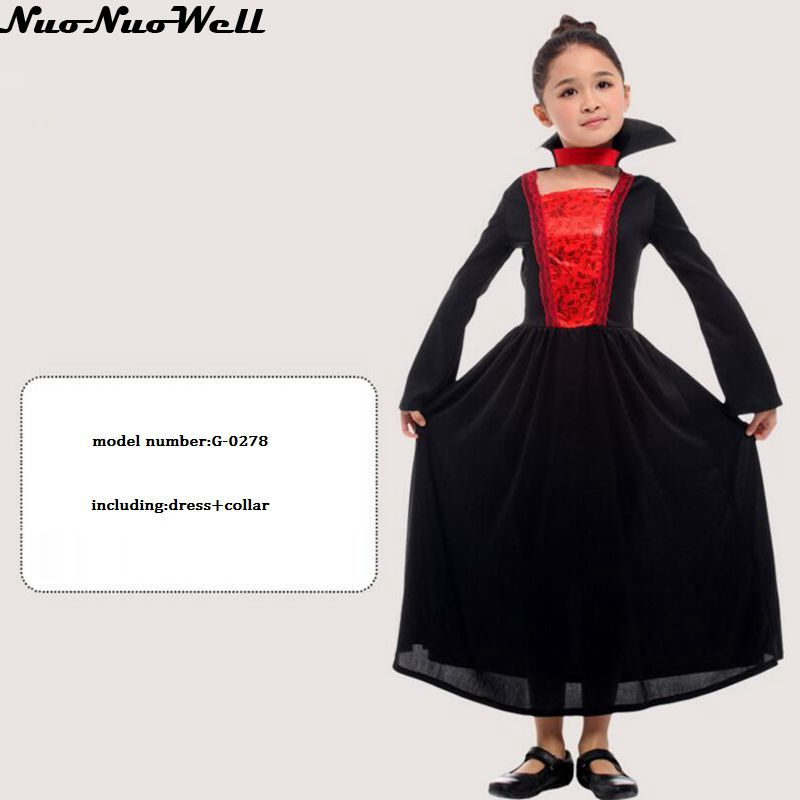New Masquerade Vampire Role Playing Witch Damon Clothes Children's New Halloween Carnival Costume Girl's Skeleton Cosplay Dress