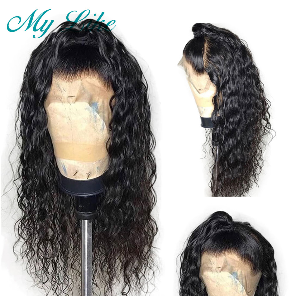 My Like 360 Curly Human Hair Wigs Pre Plucked with Baby Hair Lace Front Human Hair Wigs Peruvian Remy Lace Frontal Wigs 360(China)