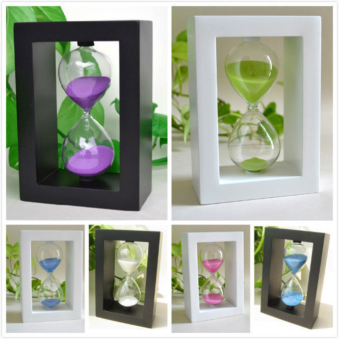 Frame Sand Glass Clock Watch Hourglass Timer 30minutes Home Desk