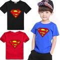 2015 Nuevos Muchachos Niños Camisas de Algodón de Manga Corta Niños Traje de Superman Ropa