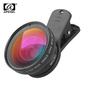 APEXEL obiektyw aparatu 0.45x szeroki kąt widzenia i 12.5x makro komórkowy obiektyw 2 w 1 HD obiektyw telefonu dla iPhone 6 Samsung xiaomi APL-0.45WM