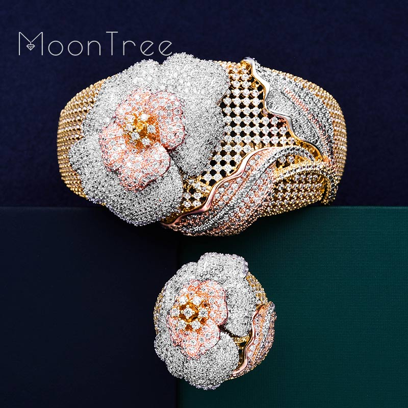 Mootree Luxury Flowers Luxury 3 Tone SunFlower Full AAA Cubic Zirconia Women Engagement Bracelet Bangle Ring Dress Jewelry Set flowers mexican sunflower motorola droid 2 skinit skin