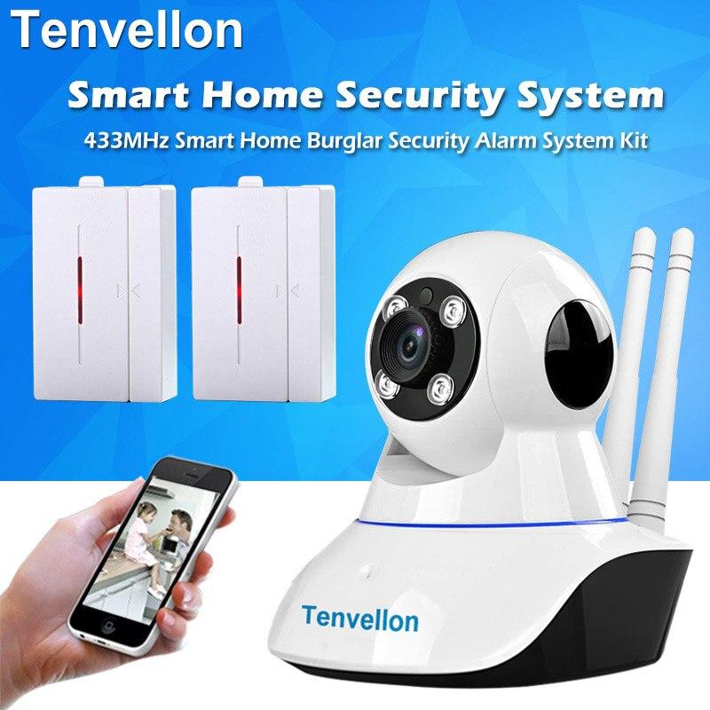 Système de Sécurité à domicile WIFI IP Caméra de Sécurité Système De Caméra De Surveillance Avec 2 pcs Sans Fil Porte Capteur D'alarme Maison Système D'alarme