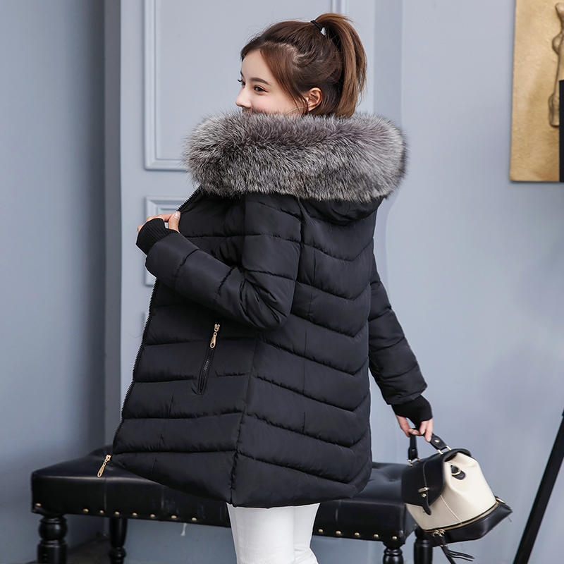 Women Jacket Long Parkas Hooded Feminine-Coat Cotton New-Fashion Warm Thick Slim Large-Size