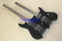 free shipping Wholesale custom shop Black Headless Double Neck 4 string bass 6 string Electric Guitar (accept custom all kinds