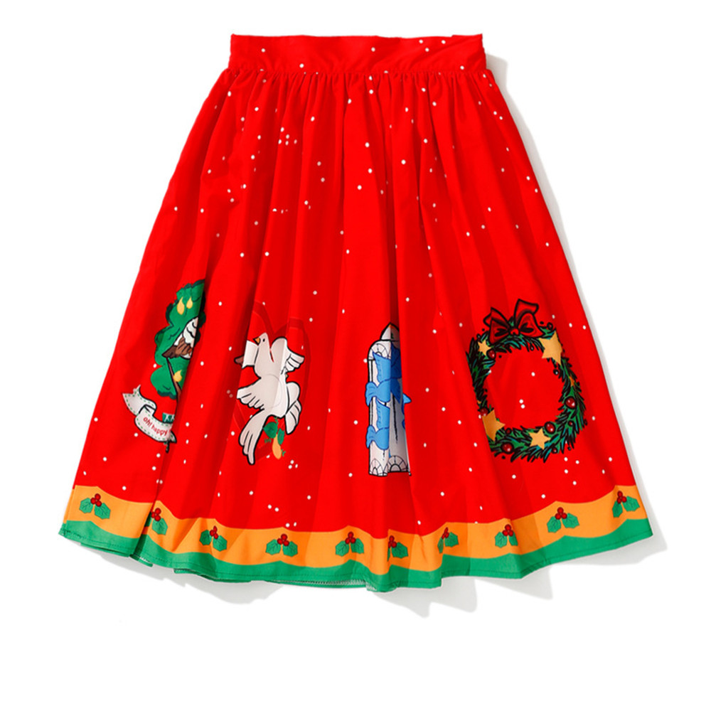 Ladies' Large Size Skirt Dress Bell Print Christmas Halloween Party Prom Costume Swing Dress Party Cosplay Costume