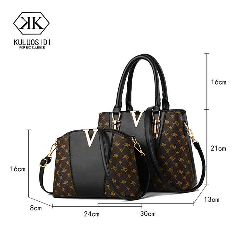 Image 2 - Women Bags Set 2 Pcs Leather Handbag Women Tote Bag Ladies Hand 