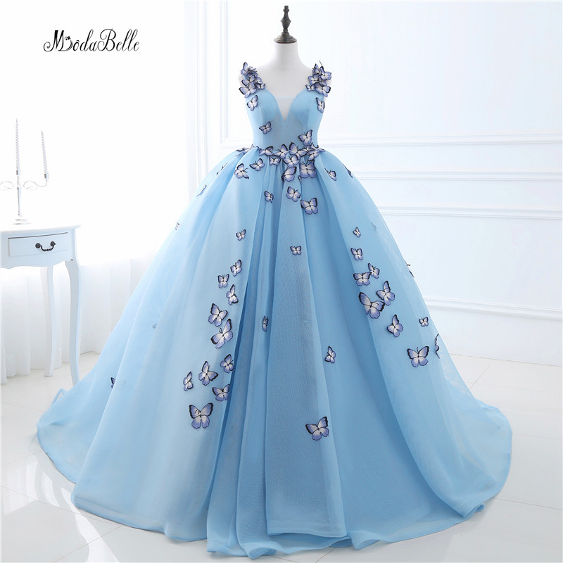 In Stock Arab Butterfly Blue font b Wedding b font Dresses Hochzeitskleid 2017 Ball font b