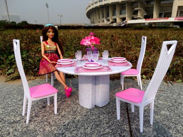 tisch setpuppe haus esszimmer rosa wei mbel untertasse stuhl zubehr fr barbie ken - Esszimmer Zubehor