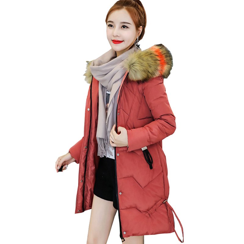 Hot sale Hooded Down   Parka   Winter Female Hot Sale Long 2019 New Color Collars Loose Big Cotton-padded Jacket 8697 Coat