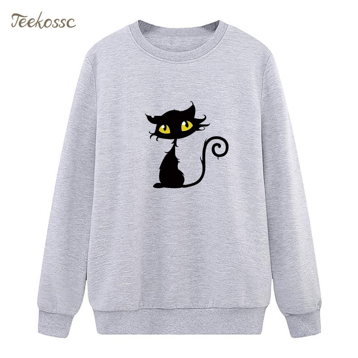 Cat Kawaii Sweatshirt Casual Hoodie Vogue Winter Autumn Women Lasdies Pullover Fleece Warm Loose Cute Streetwear Brand Clothing