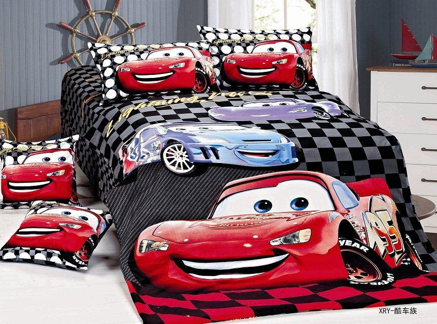 cartoon lightning mcqueen cars bedding sets children bedroom decor single twin size bed sheets. Black Bedroom Furniture Sets. Home Design Ideas