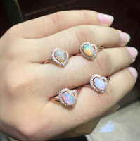 Natural Oval Opal Stone Solid Silver 925 Cuff Ring Women Thin Band Real 925 Sterling Silver Fire Natural Stone Jewelry Free Box