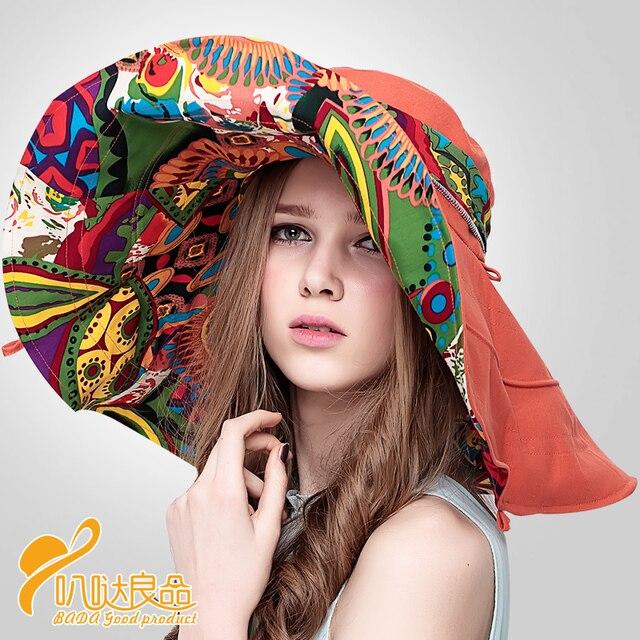 Мода китайский стиль стильный женщин складная уф-защитой широкий большой брим пляжа лета шапка новый головной убор B-2268