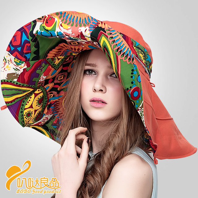 Fashion Chinese Style Stylish Women's Foldable UV Protection Hat Wide Large Brim Summer Beach Sun Hat  New Headwear  B-2268