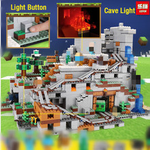 Lepin 18032 Minecrafter My World Building Blocks brick for Toddlers Iron Golem Toys Mountain Cave LegoINGly 21137 christmas gift(China)