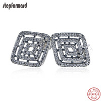 New Collection High Quality CZ Paving Geometric Design 925 Sterling Silver Hollow Square Stud Earrings