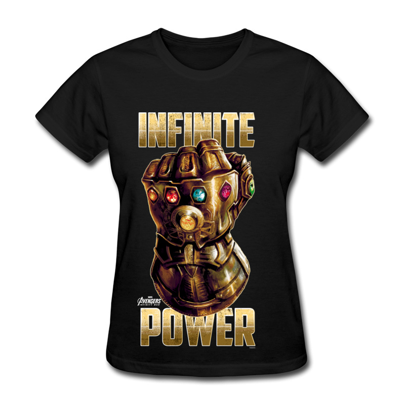 Infinite Power Femme Top T-shirts Popular Hot Sale Top Quality 100% Cotton O Neck Women Tshirts Avengers Theme Image Clothes