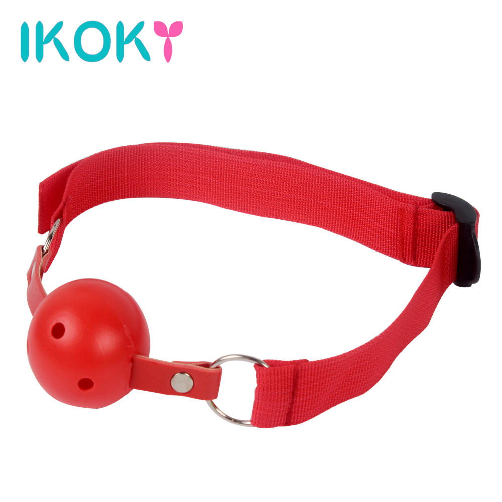IKOKY Adult Games Open Mouth Gag Ball For Women Couple Nylon Mouth Gag Slave Oral Fixation Stuffed Flirting SM Sex Toys