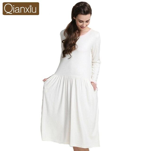 Qiaxniu Women Nightgwon Autumn Long-sleeve Nightgown For Women Plus Size Long-skirts